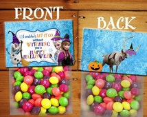 Disney Frozen Halloween Treat Topper, Frozen Halloween Invitation, Halloween Topper, Instant Download - You Print - Digital