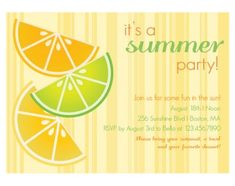 Citrus Fruit - Summer Party Invitation