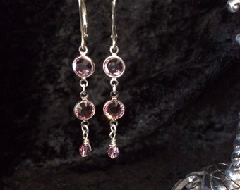 Swarovski Pink Channel Earrings with a 4mm pink crystal drop
