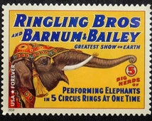 Vintage Circus Posters Performing Elephants Ringling Bros and Barnum and Bailey USA -Handmade Framed Postage Stamp Art 16597