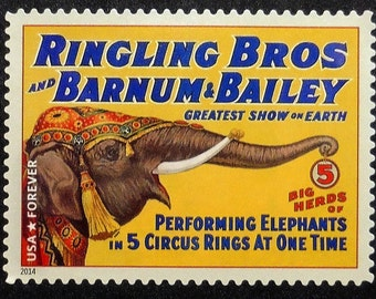 Vintage Circus Posters Performing Elephants Ringling Bros and Barnum and Bailey, USA -Handmade Framed Postage Stamp Art 16597