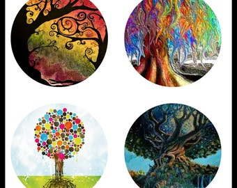 Tree Of Life - Digital Downloads - Collage Sheets - Trees - 30mm Tree Of Life Prints - Cabochons - 30mm Cabochons - 30mm Rounds - DDP373