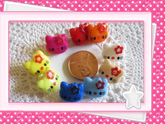 0: )- CABOCHON -( Rainbow Hellow Kitty Cat Face Beads Button