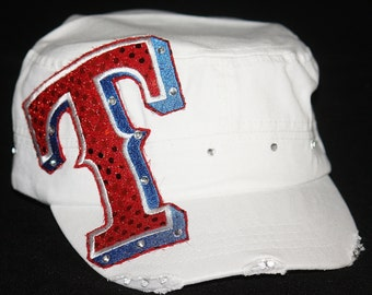 """Blinged Texas Rangers embroidered applique """"T"""" on white cadet hat"""