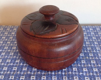 Vintage Handmade Round Turned Wooden Box with Lid