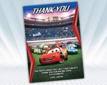 Disney Cars Thank you card