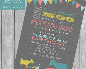 Petting Zoo birthday party invitation, bunting, banner, farm, shabby chic, customizable,digital, printable