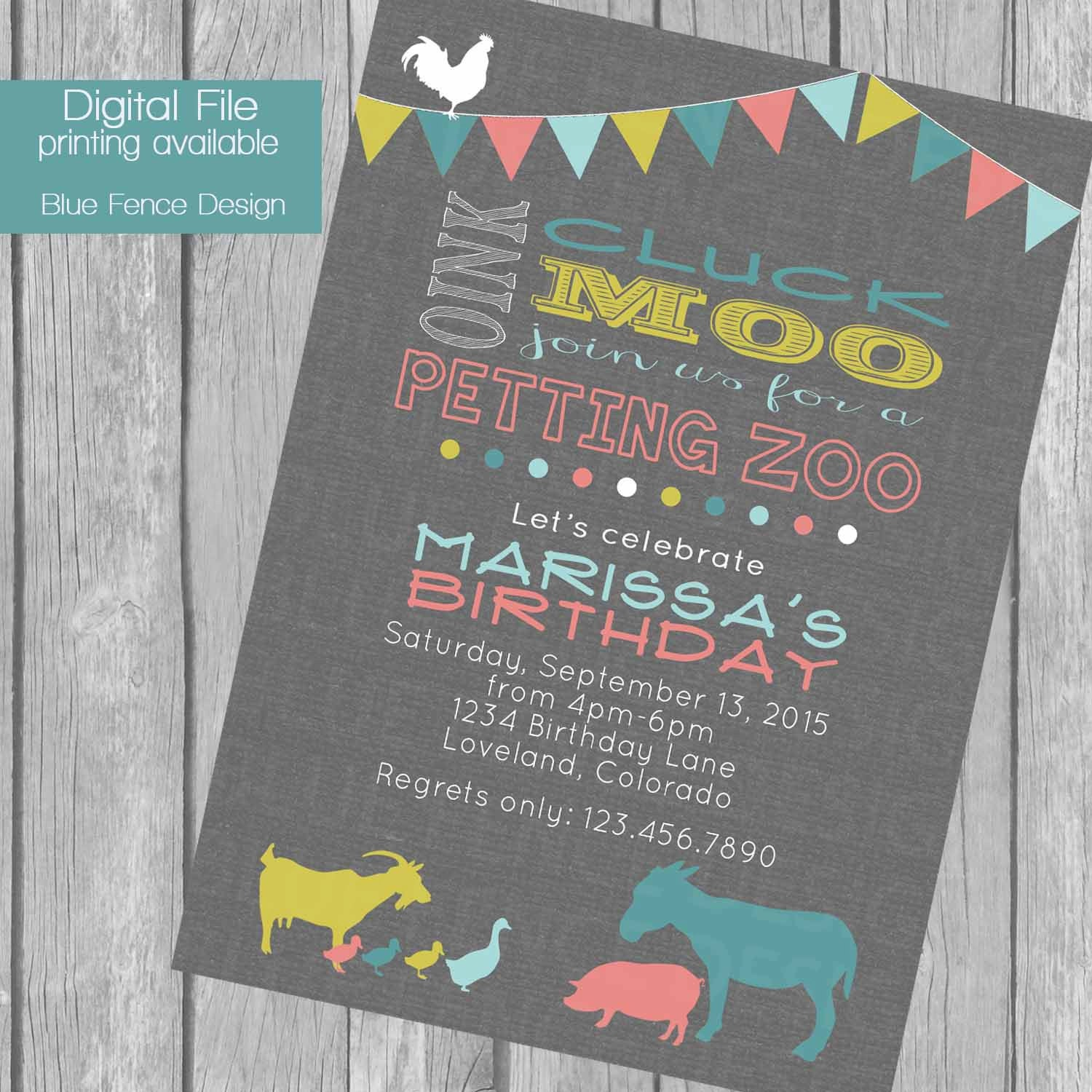 Petting Zoo Birthday Party Invitation Bunting Banner Farm