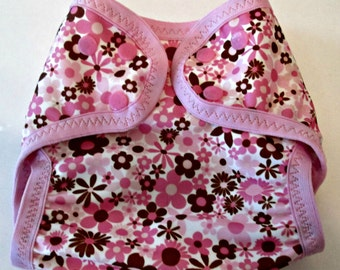 """Diaper Cover, Babyville Boutique """"Pink and Brown Flowers"""" Design"""