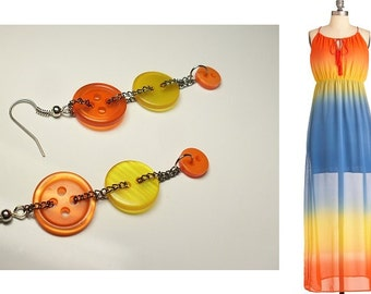 Button earrings - Dangle earrings, Original Fashion Jewelry. Yellow, Orange, funky and bright!