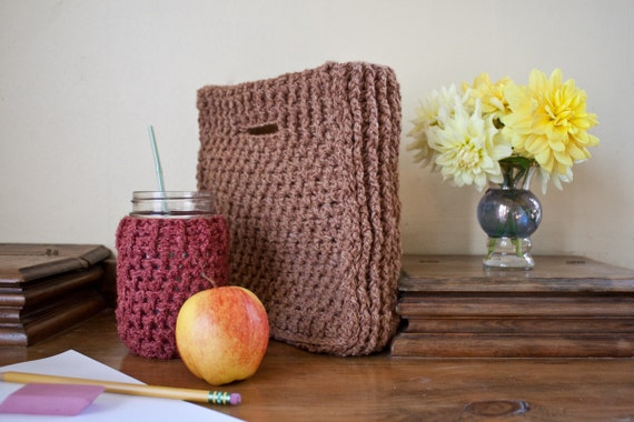Crochet Lunch Bag Pattern : Bag and Pint Jar Cozy, DIY Back to School, Easy Lunch Bag Pattern ...