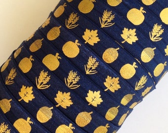 "Navy Blue with Gold Fall Harvest Pattern on 5/8"" Fold Over Elastic 5 Yards"