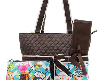 3 Piece Personalized Quilted Custom Embroidered Brown Owl Diaper Bag with Changing Pad And Accessory Bag - Tote Purse