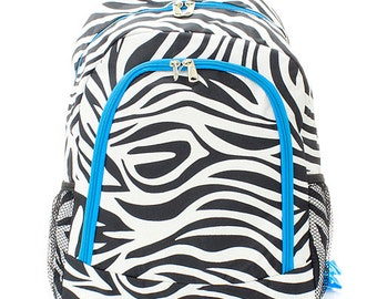 Personalized Canvas Zebra Backpack