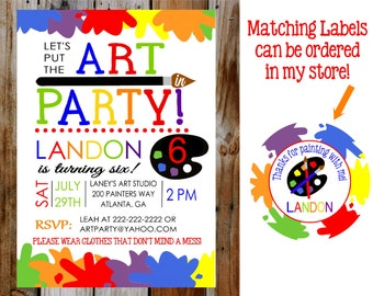 Art Party Birthday Party Invitation -- Let's Put the ART in PARTY Party invitation -- DIY