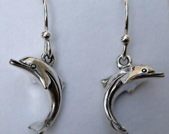 Dolphin earrings , solid sterling silver 3D earrings.