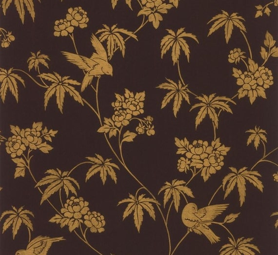 Wallpaper gold bird and floral jacobean toile in metallic on for Gold bird wallpaper
