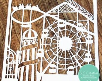 All the fun of the fair! - Summer Fairground, Ferris Wheel & Helter Skelter paper cut / papercut template DIGITAL DOWNLOAD