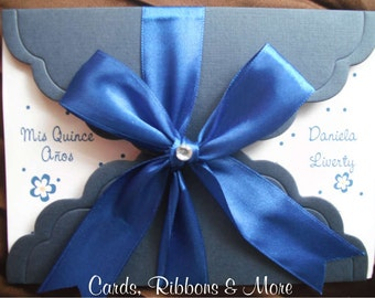 Sweet 16 invitations, quinceanera invitation, sweet 16 invitation with little flowers, old navy blue, little glitter