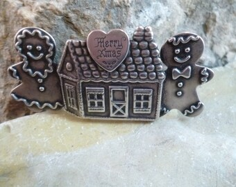 Merry Xmas Pin with Ginger Bread Man, Woman, and House Whimsical and Fun circa l960s