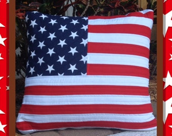 Quilted American Flag Pillow