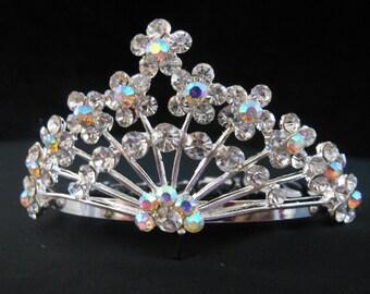 Mini Tiara Comb Iridescent Rhinestones