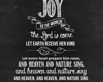 INSTANT DOWNLOAD 8x10 Christmas Printable: Joy to the World Chalkboard Poster