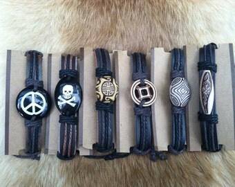 leather bracelets peace, skull, aztec, flower