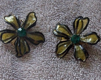 Vintage Stain Glass Style Flower Clip on Earrings