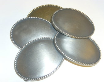 "5- 3.5"" Oval Belt Buckle Blanks - Antique Silver"