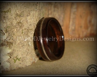 Bentwood Wood Ring - Ebony Guitar String Inlay -  durable, unique, one-of-a-kind wearable art, wood engagement ring or wedding band.