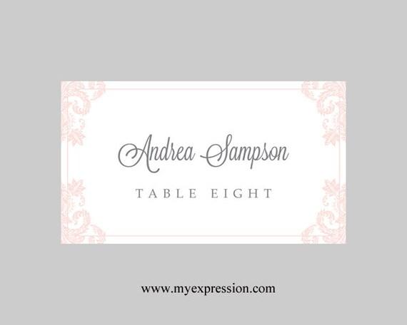 hochzeit tischkarten vorlage light pink damask. Black Bedroom Furniture Sets. Home Design Ideas