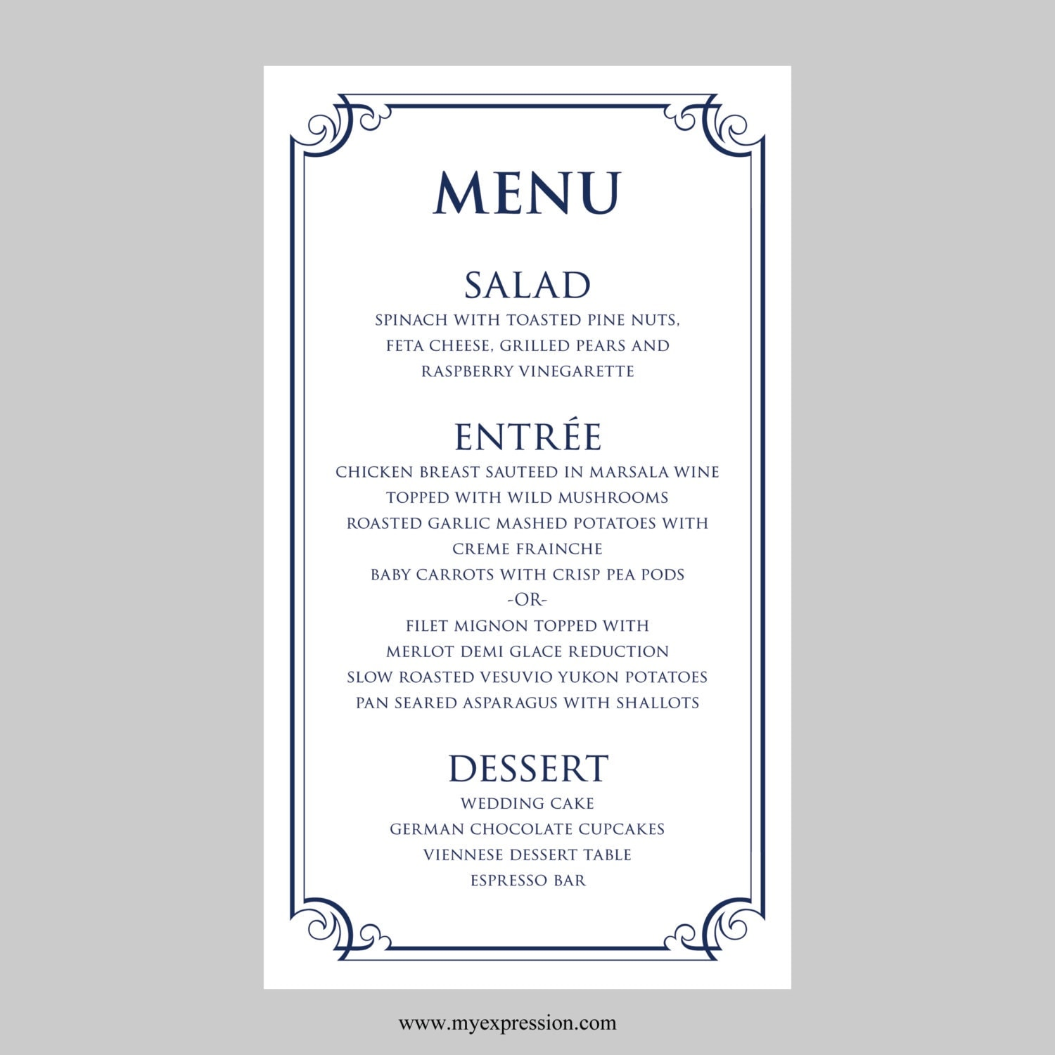Free wedding menu card templates car interior design for Wedding menu cards templates for free