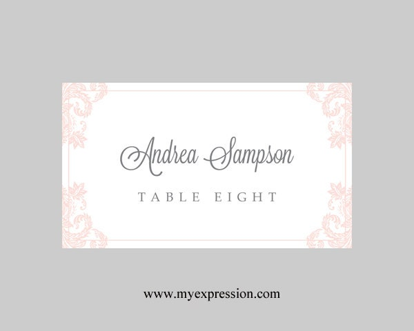 Wedding Place Cards Template Light Pink Damask Instant - Wedding place cards template for microsoft word