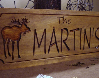Personalized Carved Last Name Plaques Wood Signs Rustic Carved Signs Wood Cabin Lodge Camp Signs Personalized Wooden Sign Moose #42