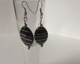 Black and silver dangle earrings