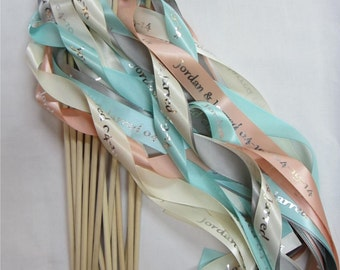 50 Multicolor Ceremony Personalized Wedding Wands  Single streamer with bells.  Ribbons and/or lace your choice of colors
