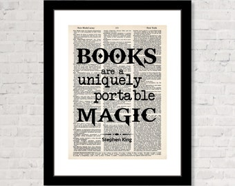 Books Are A Uniquely Portable Magic - Stephen King Quote - Gift for Book Lover -  Dictionary Art Print