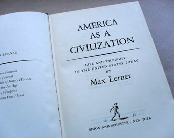 Vintage Book, America As A Civilization by Max Lerner