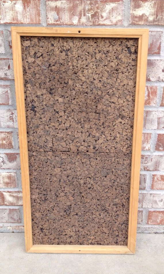 sale vintage bulletin board large dark cork board chunky. Black Bedroom Furniture Sets. Home Design Ideas