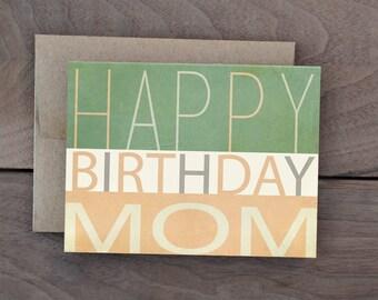 Happy Birthday Mom Card - Simple Modern Mom Birthday Card - Rustic mint peach Birthday Card