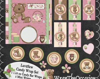 Luv 2 Sew Themed Candy Wrap Set