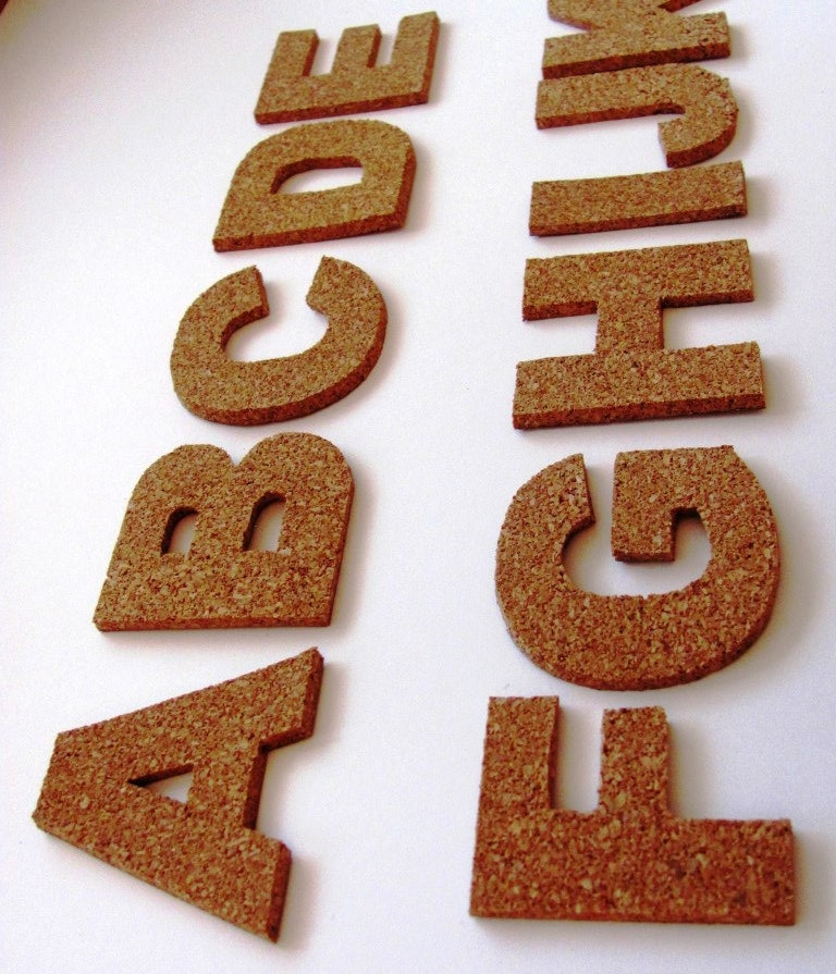 3d cork self adhesive letters wall decor cork alphabet for Self stick letters
