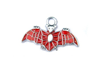 4 Enamelled Flying Bat Charms -  Halloween Charms