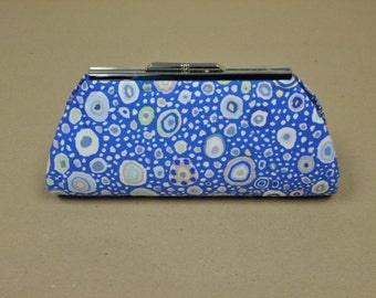 Small Clutch. Gray, Blue Green Discs on Blue Ground Fabric. Silver Metal Purse Clasp. From MDS Creative.