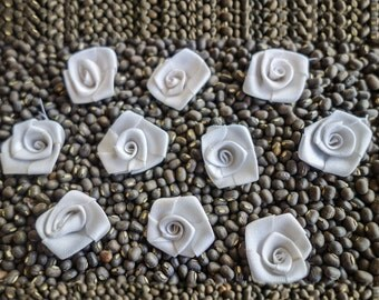 Small Coiled White Ribbon Roses