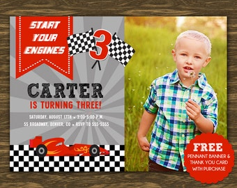 RaceCar Birthday Invitation - Printable - FREE pennant banner and thank you card with purchase