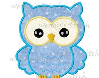 Cute owl machine embroidery design digital applique