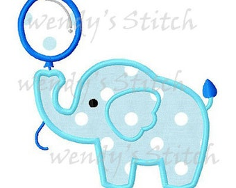 Birthday elephant balloon applique machine embroidery design