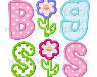 Big sis applique machine embroidery design instant download big sister